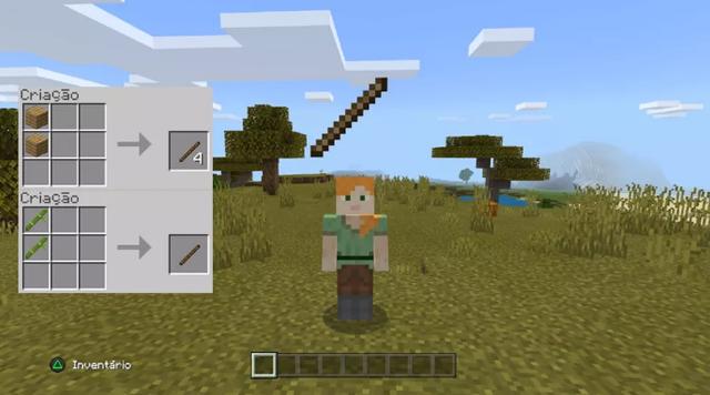 Veja como fazer Graveto no game Minecraft