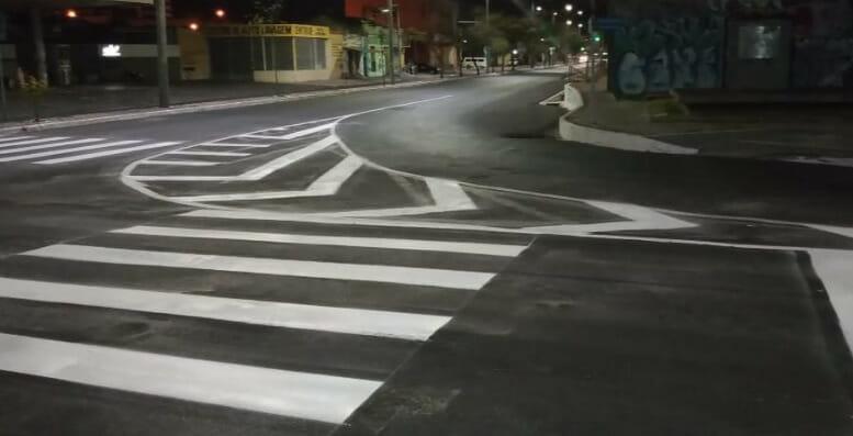 Nova sinalização horizontal na Avenida Frei Serafim