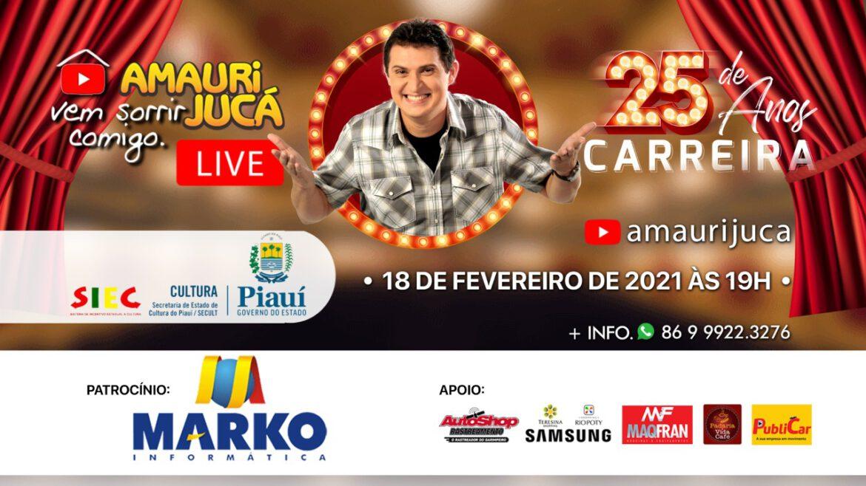 Dia 18 de fevereiro tem live no canal de Amauri Jucá no Yutube comemorando 25 anos de carreira.