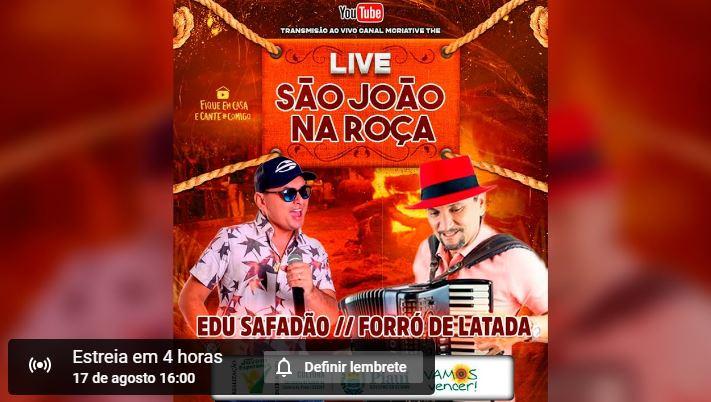 Hoje tem live São João na Roça as 19h. Veja aqui as atrações de hoje!